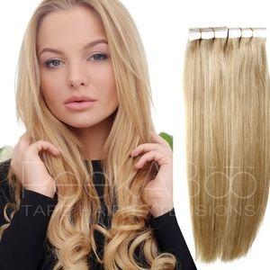 """100% REMY Tape In Hair Extensions 20"""" Sandy Blonde"""